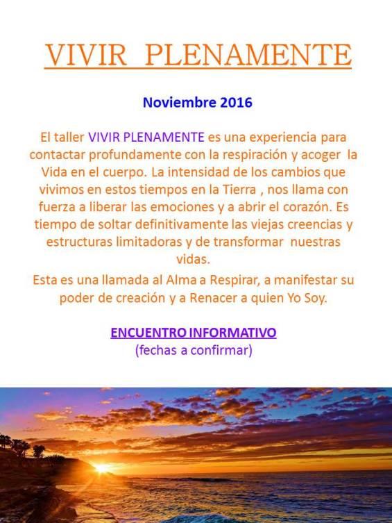 poster taller vivir plenamente noviembre 2016